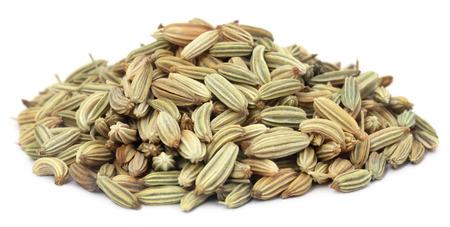 fennel seeds: Fennel seeds over white background