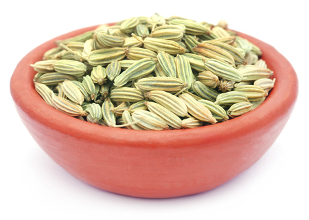 fennel seeds: Fennel seeds in clay pottary over white background