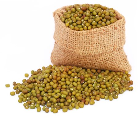 mung bean sprout: Mung bean in jute bag over white background Stock Photo