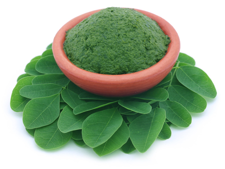 sajna: Edible moringa leaves with mashed ones Stock Photo