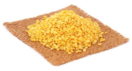 sacco juta: fagioli mung secco sul sacco di iuta su sfondo bianco