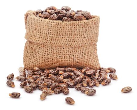 sacco juta: semi di ricino nel sacco di iuta su sfondo bianco