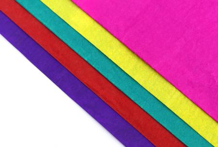 Decorative colored paper over white background