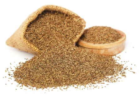ajwain: Ajwain seeds in sack and a wooden bowl