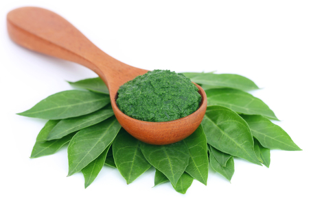colorant: Ayurvedic henna leaves with paste over white background