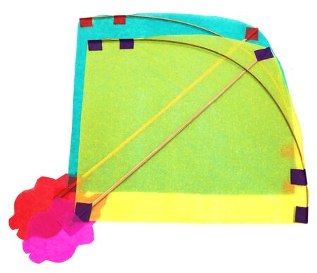 paper kites: Traditional Bangladeshi kites made of thin papers over white background