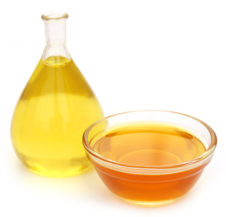 coo: Cooking oil in different containers over white background