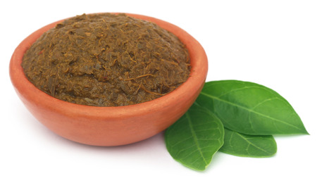ayurvedic: Ayurvedic henna leaves with paste in a pottery