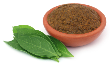 colorant: Ayurvedic henna leaves with paste in a pottery