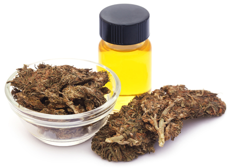Medicinal cannabis with extract oil in a bottle over white background Stockfoto