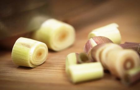lemongrass: Pink lemongrass on a chopping board