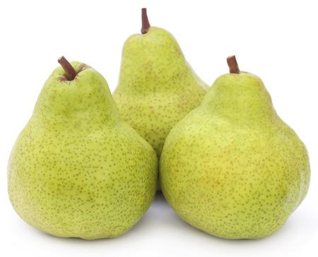 Fresh pears over white background Stockfoto