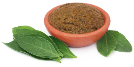 colorant: Ayurvedic henna leaves with paste in a bowl over white background