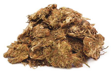 Pile of some marijuana over white background
