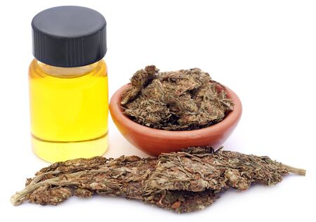 extract: Medicinal cannabis with extract oil in a bottle over white background Stock Photo