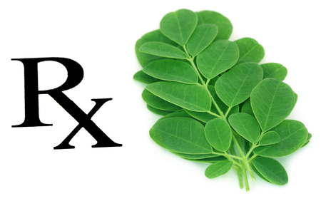 Moringa leaves prescribed as herbal medicine over white background