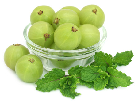 Amla fruits with mint leaves over white background