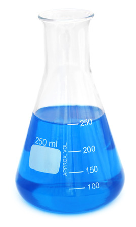 Conical flask with chemical over white background