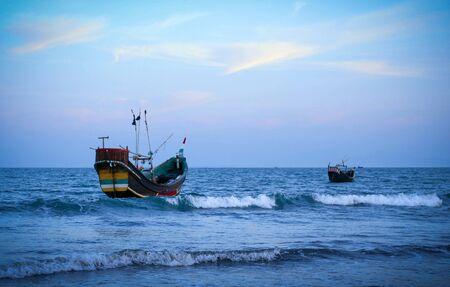 Traditional fishing boat at the shore of the Saint Martins island of Bangladesh
