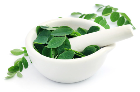 malunggay: Edible moringa leaves with mortar and pestle over white background