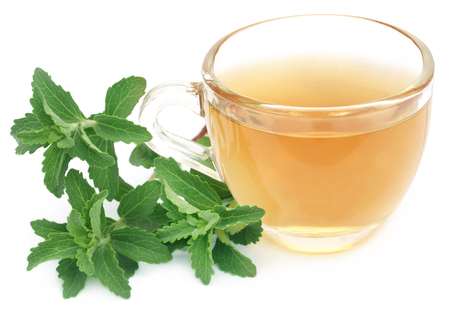 steviol: Herbal tea in a cup with stevia leaves over white background