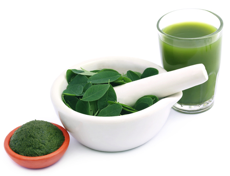 malunggay: Edible moringa leaves with extract and ground paste Stock Photo