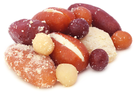 Popular Bangladeshi Sweetmeats over white background