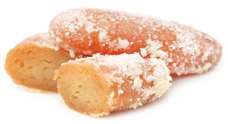 Popular Bangladeshi Sweetmeats Chamcham over white background