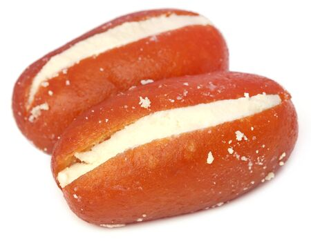 gulab: Popular Bangladeshi Sweetmeats Cream Jam over white background Stock Photo
