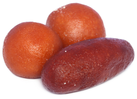 gulab: Popular Bangladeshi Sweetmeats Pantua and Kalojam over white background Stock Photo