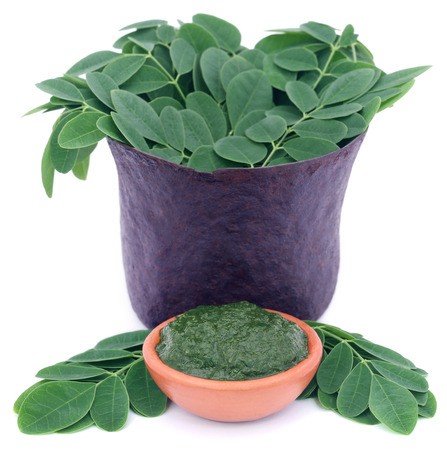 benzolive: Edible moringa leaves in a vintage mortar with ground paste over white background