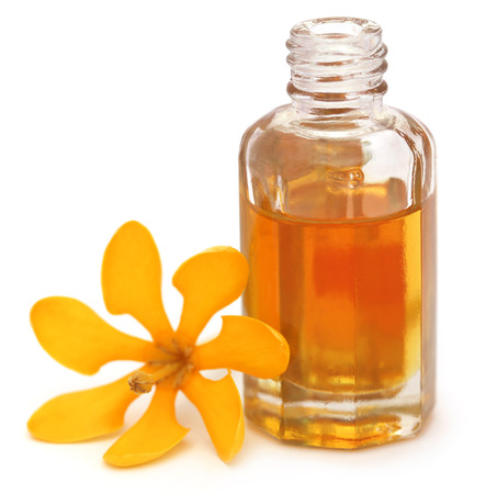 Gardenia coronata or Pinwheel Gardenia with essence in a bottle