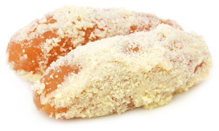 Popular Bangladeshi Sweetmeat Chamcham over white background Stock Photo