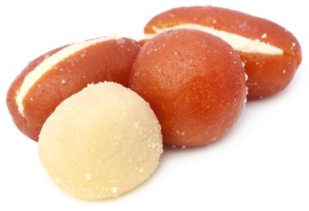 gulab: Popular Bangladeshi Sweetmeats over white background