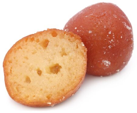 Popular Bangladeshi Sweetmeats Pantua over white background Stock Photo