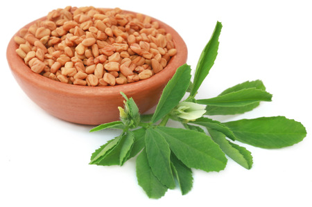 Fenugreek leaves with seeds in a bowl Stock Photo
