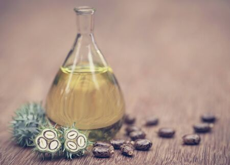 Castor oil with dry and green beans on wooden surface