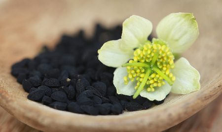 Nigella flower with seeds in a wooden bowl Stock Photo