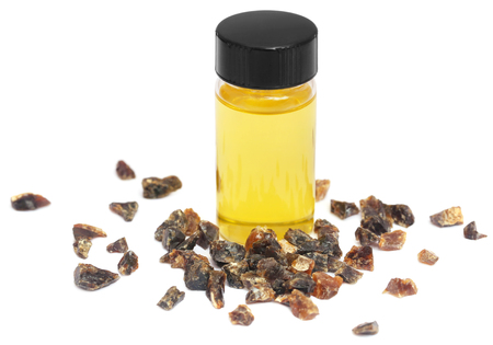 Frankincense dhoop with essential oil, a natural aromatic resin used in perfumes and incenses