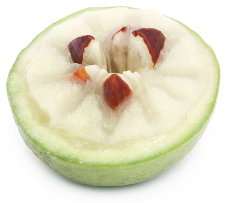 Chrysophyllum cainito or star apple over white background