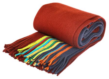 muffler: Woolen muffler over white background Stock Photo