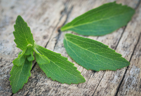 Stevia leaves on wooden surface Stock Photo