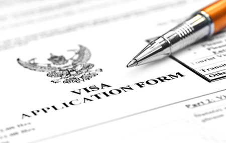 Visa application form with ballpoint