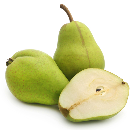 Fresh pear sliced over white background
