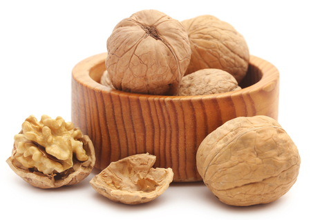 Walnut isolated over white background Imagens