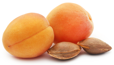 Apricot with seeds over white background Stock Photo