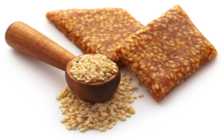 Sesame caramel candy very popular in Indian subcontinent 스톡 콘텐츠