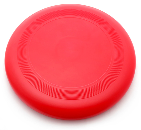 Rode frisbee geïsoleerd op witte achtergrond