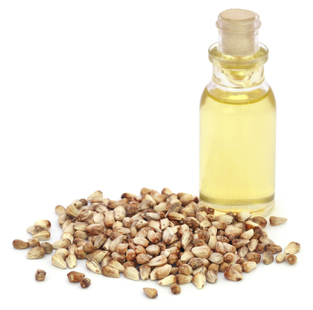 Medicinal cannabis seeds with extract oil in a bottle Stock Photo