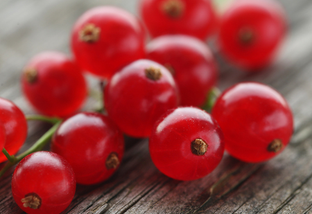 Fresh red currant on timber surface